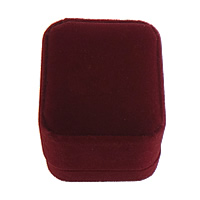 Velveteen Ring Box Plastic with Velveteen Rectangle dark red 50x58x48mm 30PCs/Lot