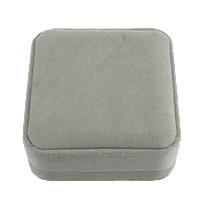 Velveteen Bracelet Box, Plastic, with Velveteen, Square, grey, 90x90x40mm, 24PCs/Lot, Sold By Lot