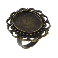 Brass Bezel Ring Base, Flat Oval, antique bronze color plated, 28mm, Hole:Approx 18x13mm, Size:6.5, 100PCs/Lot, Sold By Lot