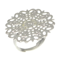 Brass Filigree Ring Base Flower platinum color plated adjustable nickel lead   cadmium free 25mm US Ring Size:6.5 200PCs/Lot