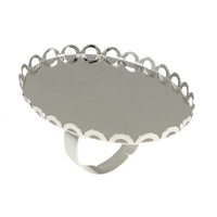 Brass Bezel Ring Base, Flat Oval, platinum color plated, nickel, lead & cadmium free, 41mm, 30x40mm, Inner Diameter:Approx 30x40mm, Size:6.5, 100PCs/Lot, Sold By Lot