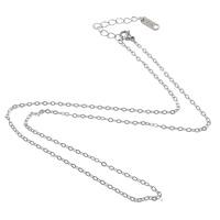 Stainless Steel Chain Necklace, with 2lnch extender chain, different length for choice & oval chain, original color, 2.20x1.50x0.20mm, 100Strands/Lot, Sold By Lot