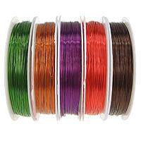 Mosiężny przewód, Druty mosiężne, ze Szpulka plastikowa, Płaskie koło, Powlekane, różnej wielkości do wyboru, dostępnych więcej kolorów, bez zawartości niklu, ołowiu i kadmu, sprzedane przez wiele