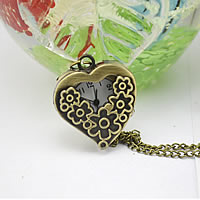 Fashion Watch Necklace, Zinc Alloy, with Glass, Heart, antique bronze color plated, twist oval chain, nickel, lead & cadmium free, 16mm, Length:Approx 32.1 Inch, 20PCs/Lot, Sold By Lot