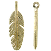 Zinc Alloy Leaf Pendants, real gold plated, high quality plating and never fade, nickel, lead & cadmium free, 9x30x4mm, Hole:Approx 2mm, 100PCs/Bag, Sold By Bag