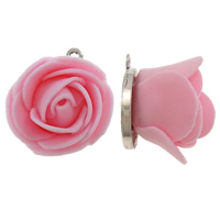 Polymer Clay Pendants, Zinc Alloy, with Polymer Clay, Flower, antique silver color plated, pink, lead & cadmium free, 22.5x26x22mm, Hole:Approx 2mm, 10PCs/Bag, Sold By Bag