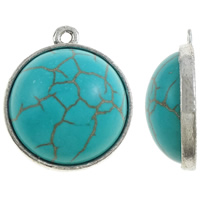 Turquoise Pendant, Zinc Alloy, Dome, antique silver color plated, lead & cadmium free, 22x26x9mm, Hole:Approx 1.5mm, 20PCs/Bag, Sold By Bag