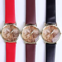 Unisex Wrist Watch, PU, with zinc alloy dial, Flat Round, plated, mixed colors, 38mm, Length:Approx 9 Inch, 10Strands/Lot, Sold By Lot