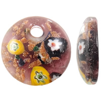 Millefiori Slice Lampwork Pendants, Flat Round, handmade, with millefiori slice & gold sand, multi-colored, 25x7mm, Hole:Approx 4mm, 10PCs/Bag, Sold By Bag