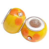 Szklane koraliki European, Lampwork, Okrąg, Ręcznie robione, mosiężny podwójny środek bez gwintu & z kamieniem, pomarańczowy, 14x10mm, otwór:około 4.5mm, 100komputery/torba, sprzedane przez torba