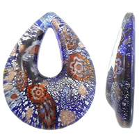 Millefiori Slice Lampwork Pendants, Teardrop, handmade, with millefiori slice & silver foil, blue, 39x52x12mm, Hole:Approx 10x25mm, 10PCs/Bag, Sold By Bag