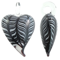 Fashion Lampwork Pendants, Heart, handmade, stripe, more colors for choice, 29x49.50x16mm, Hole:Approx 7mm, 10PCs/Bag, Sold By Bag
