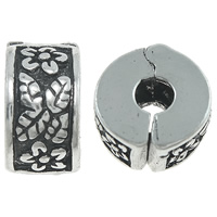 Brass European Clip Rondelle antique silver color plated nickel lead   cadmium free 11x6mm Hole:Approx 3.5mm