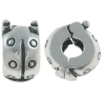 Brass European Clip, Ladybug, antique silver color plated, nickel, lead & cadmium free, 11x6mm, Hole:Approx 3mm, 10PCs/Bag, Sold By Bag