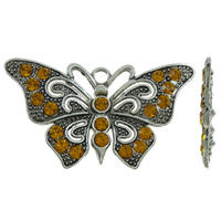Zinc Alloy Animal Pendants, Butterfly, antique silver color plated, with rhinestone, lead & cadmium free, 67x40x4mm, Hole:Approx 4mm, 10PCs/Bag, Sold By Bag