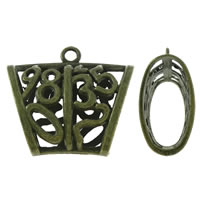 Zinc Alloy Scarf Slide Bail, Trapezium, antique bronze color plated, hollow, lead & cadmium free, 40x35x16mm, Hole:Approx 4mm, 10PCs/Bag, Sold By Bag