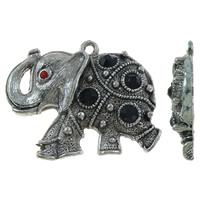 Sinkkiseos Animal riipukset, Norsu, antiikki hopea päällystetty, tekojalokivi, lyijy ja sen kadmium vapaa, 50x38x7mm, Reikä:N. 3mm, 10PC/laukku, Myymät laukku