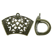 Zinc Alloy Scarf Slide Bail, antique bronze color plated, lead & cadmium free, 43x31x20mm, Hole:Approx 2mm, Inner Diameter:Approx 1.5mm, 10PCs/Bag, Sold By Bag