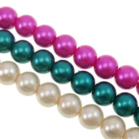 Glass Pearl Beads, Round, stoving varnish, mixed colors, 12mm, Hole:Approx 1.5mm, Length:Approx 32.2 Inch, 10Strands/Bag, Sold By Bag