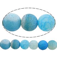 Natuurlijke Effloresce Agaat kralen, Ronde, blauw, 6mm, Gat:Ca 1mm, Lengte:Ca 15 inch, 10strengen/Lot, Verkocht door Lot