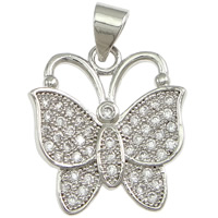 Cubic Zirconia Micro Pave Brass Pendant, Butterfly, platinum plated, micro pave cubic zirconia, nickel, lead & cadmium free, 16x19x2mm, Hole:Approx 3x4mm, 10PCs/Lot, Sold By Lot
