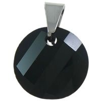 Crystal Pendants, with brass bail, Flat Round, faceted, Jet, 18x25x7mm, Hole:Approx 5x6mm, 10PCs/Bag, Sold By Bag