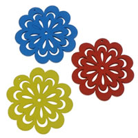 Wood Pendants, Flower, mixed colors, 47.50x50x2.50mm, Hole:Approx 1mm, 100PCs/Bag, Sold By Bag