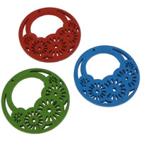 Zawieszki z drewna, Drewno, Płaskie koło, mieszane kolory, 25x2mm, otwór:około 0.5mm, 100komputery/torba, sprzedane przez torba