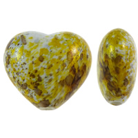 Painted Acrylic Beads, Heart, yellow, 29x26x15mm, Hole:Approx 3mm, Approx 75PCs/Bag, Sold By Bag