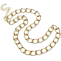 Iron Necklace Chain, with 7cm extender chain, gold color plated, twist oval chain & enamel, nickel, lead & cadmium free, 15x5mm, Length:Approx 15.5 Inch, 20Strands/Bag, Sold By Bag