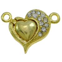 Zinc Alloy Magnetic Clasp, Heart, plated, with rhinestone & single-strand, more colors for choice, nickel, lead & cadmium free, 17x22x6mm, Hole:Approx 2mm, 10PCs/Bag, Sold By Bag