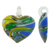 Fashion Lampwork Pendants, Heart, more colors for choice, 40x45x10mm, Hole:Approx 5x7mm, 10PCs/Bag, Sold By Bag