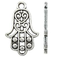 Zinklegering Hamsa Hangers, Zinc Alloy, plated, Joodse Jewelry & Islam sieraden, meer kleuren voor de keuze, nikkel, lood en cadmium vrij, 14x23x1.50mm, Gat:Ca 2mm, Ca 770pC's/KG, Verkocht door KG