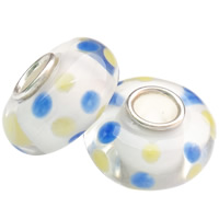 Lampwork koralik European, Okrąg, Ręcznie robione, mosiężny pojedynczy środek bez gwintu, dostępnych więcej kolorów, 14x7.5mm, otwór:około 4mm, 100komputery/torba, sprzedane przez torba