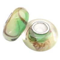 Lampwork koralik European, Okrąg, Ręcznie robione, mosiężny pojedynczy środek bez gwintu, dostępnych więcej kolorów, 13x7mm, otwór:około 4mm, 100komputery/torba, sprzedane przez torba