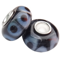 Lampwork koralik European, Okrąg, Ręcznie robione, mosiężny pojedynczy środek bez gwintu, 14x7.5mm, otwór:około 4mm, 100komputery/torba, sprzedane przez torba