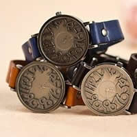 Unisex Wrist Watch, Cowhide, with zinc alloy dial, antique bronze color plated, mixed colors, nickel, lead & cadmium free, 35x7mm, Length:Approx 9.5 Inch, 5Strands/Lot, Sold By Lot