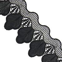 Koronki wstążką, Bawełna, ze PU, czarny, gatunek, 100mm, 15m/wiele, sprzedane przez wiele