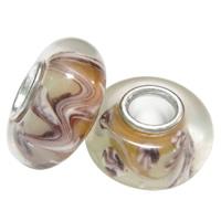 Lampwork koralik European, Okrąg, mosiężny pojedynczy środek bez gwintu, wielokolorowy, 13x8mm, otwór:około 4mm, 100komputery/torba, sprzedane przez torba