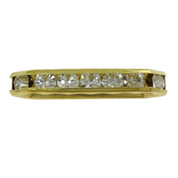 Rhinestone Spacers, Brass, gold color plated, 5-strand & with rhinestone, nickel, lead & cadmium free, 28x4x8mm, 200PCs/Lot, Sold By Lot