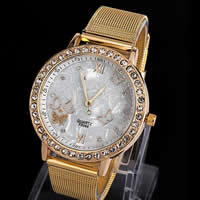 Unisex Wrist Watch, Zinc Alloy, with Glass, Flat Round, gold color plated, with rhinestone, nickel, lead & cadmium free, 46x8mm, Length:Approx 9 Inch, 5Strands/Lot, Sold By Lot