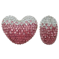 Half Drilled Rhinestone Beads, Rhinestone Clay Pave, Heart, with 510pcs rhinestone & half-drilled, more colors for choice, 40x32x19mm, Hole:Approx 1mm, Sold By PC