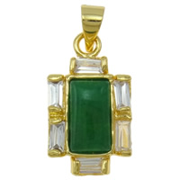 Natural Aventurine Pendants, Brass, with Green Aventurine, Cross, gold color plated, with cubic zirconia, nickel, lead & cadmium free, 6x19.50x3.50mm, Hole:Approx 3x4mm, Sold By PC