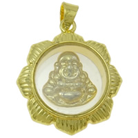Brass Jewelry Pendants, with Plastic, Flower, gold color plated, Buddhist jewelry, nickel, lead & cadmium free, 19x21x6mm, Hole:Approx 3.5x4mm, Sold By PC