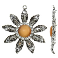 Zinc Alloy Flower Pendants, with Cats Eye, antique silver color plated, with rhinestone, lead & cadmium free, 58x63x8mm, Hole:Approx 3mm, 10PCs/Bag, Sold By Bag
