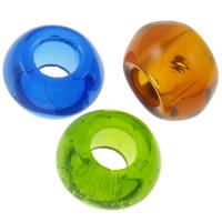 Kristalli European Helmi, Rondelli, läpinäkyvä & ilman peikko, sekavärit, 14x8mm, Reikä:N. 6mm, 10PC/laukku, Myymät laukku
