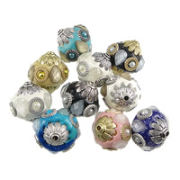 Indonesia Beads, with Glass Pearl & Glass & Zinc Alloy, Drum, plated, faceted, more colors for choice, 24x24.50mm, Hole:Approx 2mm, 50PCs/Lot, Sold By Lot