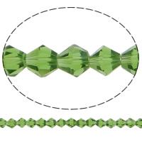 Bicone Crystal Beads, Kristal, gefacetteerde, Emerald, 6x6mm, Gat:Ca 1mm, Lengte:12.5 inch, 10strengen/Bag, Verkocht door Bag