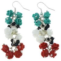 Натуральный коралл Сережка, с Кристаллы, латунь крюк, Форма цветка, разноцветный, 8mm, 12Пары/Лот, продается Лот