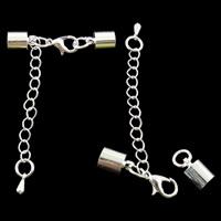 Mosiądz Zapięcie karabińczyk, Platerowane w kolorze srebra, z końcówka koralik, bez zawartości niklu, ołowiu i kadmu, 38x6.5mm, otwór:około 5.5mm, 50komputery/torba, sprzedane przez torba